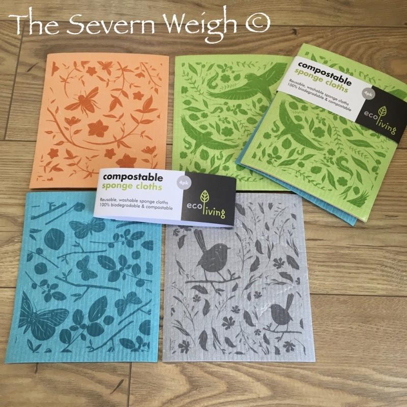 4 Natural Botanic Sponge Cloths Cellulose & Cotton Compostable