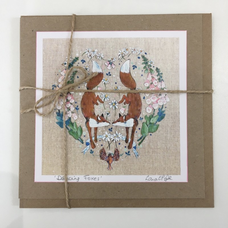 'Dancing Foxes' Heart Greeting Card: Lorna Page