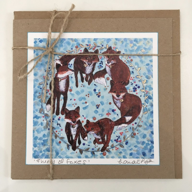 'Flurry of Foxes' Circle Greeting Card: Lorna Page