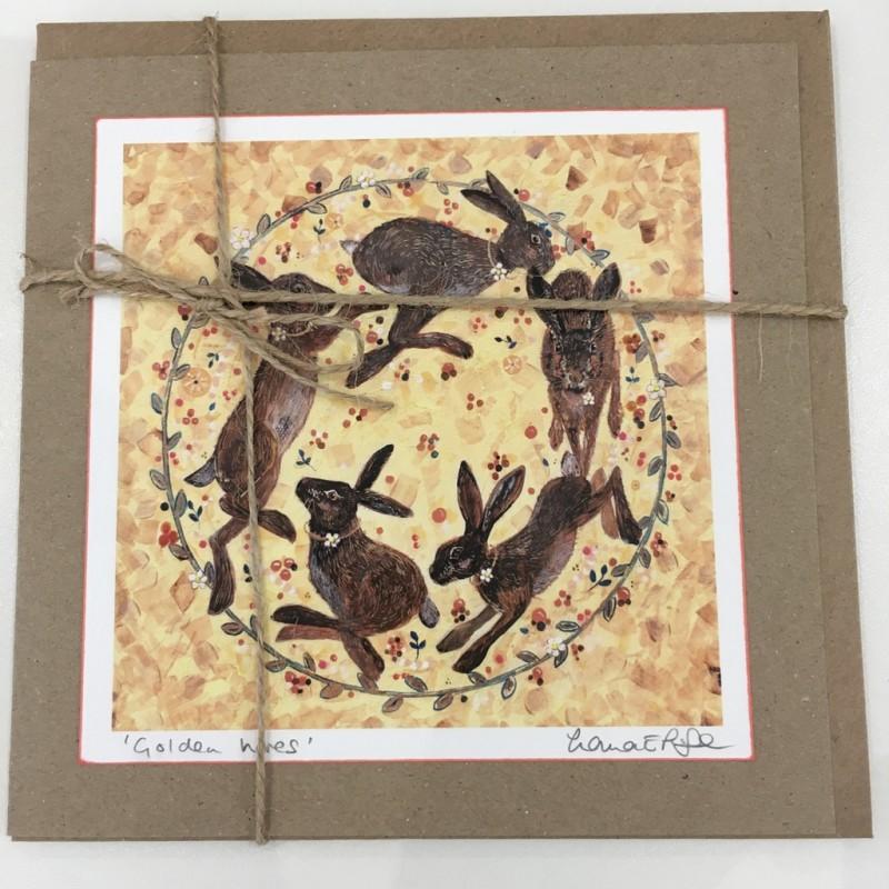 'Golden Hares' Circle Greeting Card: Lorna Page