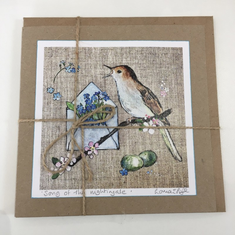 'Song of the Nightingale' Bird Greeting Card: Lorna Page