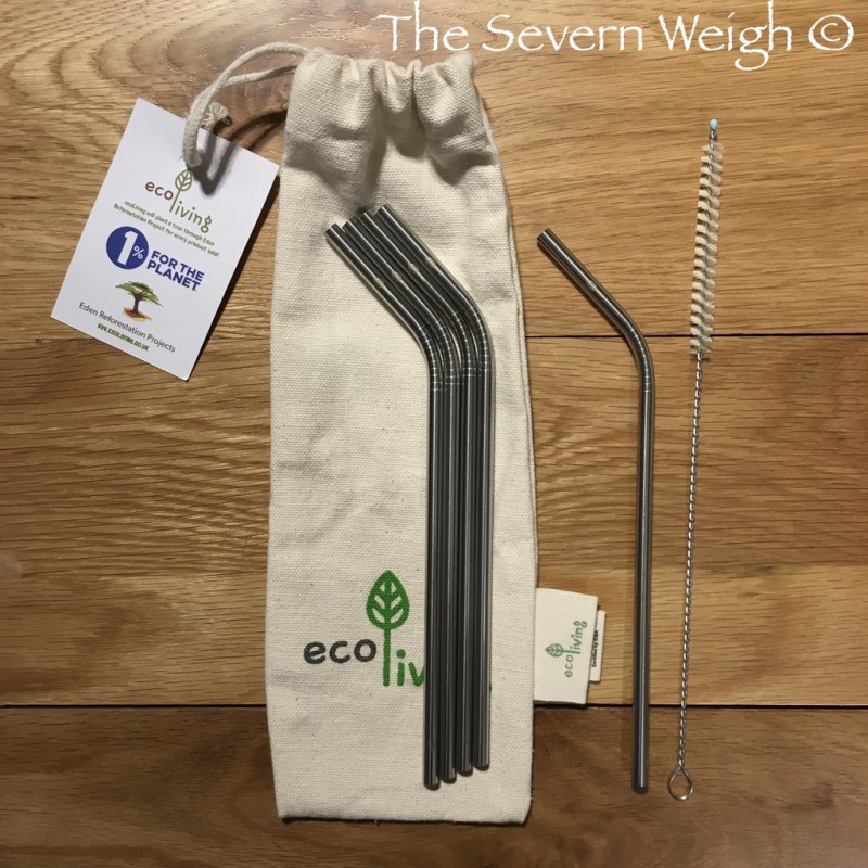 5 Stainless Steel Straws & Brush, Organic Cotton Pouch