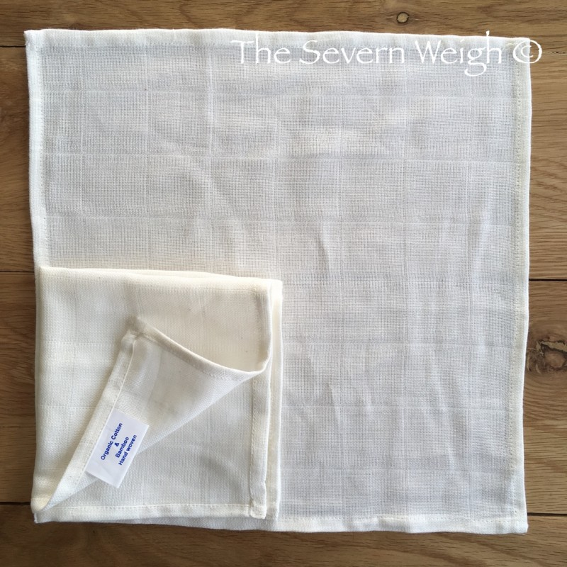 Organic Cotton & Bamboo Muslin Face Cloth Unbleached