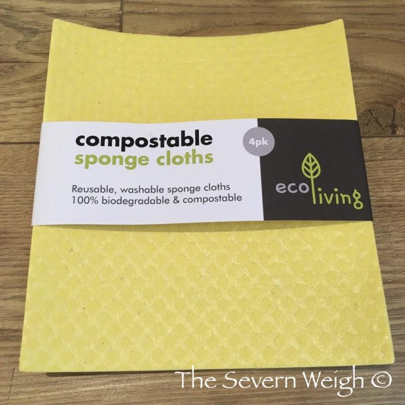 4 Natural Sponge Yellow Cloths Cellulose & Cotton Compostable
